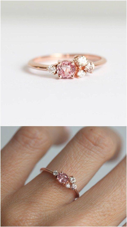 Peach Sapphire Ring / http://www.deerpearlflowers.com/sapphire-engagement-rings/ #beautifuljewelryrings #weddingring