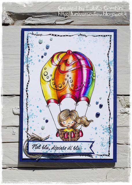 """Shaky A. stamp """"Nel blu dipinto di blu"""" (made in Milan by Impronte d'Autore) - colored by L'Universo di Eu with Giotto Supermina pencils -  Nazionale ASI Verona... un pezzo di storia scrap!"""