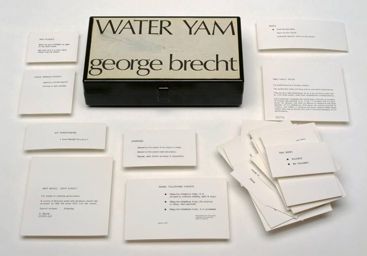 Water Yam / George Brecht, 1963. Printed cards in plastic box with printed sheet on cover.