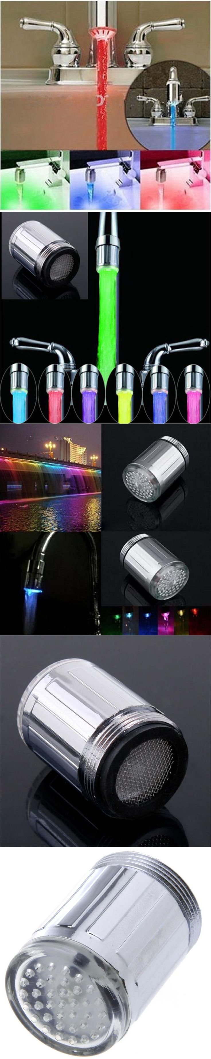 LED Water Faucet Stream Light 7 Colors Changing Glow Shower Tap Head Kitchen Temperature Sensor Tap TE Kitchen Accessories