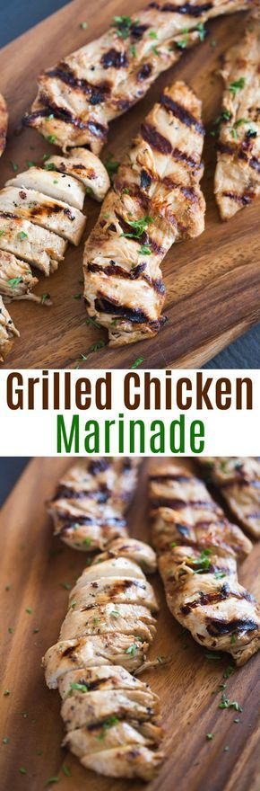 The BEST grilled chicken marinade recipe. With just a few simple ingredients, this marinade couldn't be easier to make! | tastesbetterfromscratch.com