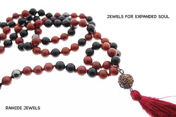 Mala: red jasper, hematite and black onyx by RamideJewels on Etsy