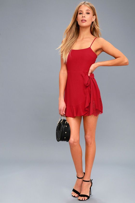 ab3e5f52519 LOVE S YOUNG DREAM RED WRAP DRESS