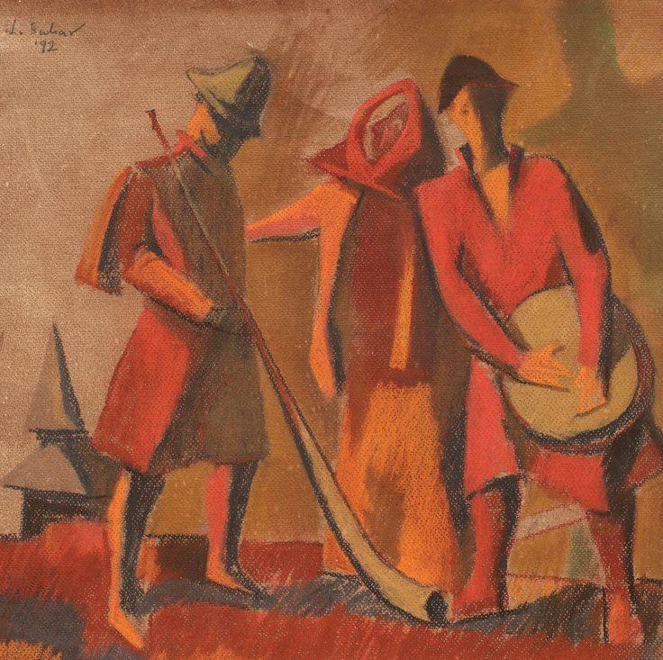 """Liviu Suhar, Tradiții pastel pe hârtie, 34 × 34 cm, semnat şi datat stânga sus, în creion, """"L. Suhar, (19)92""""; Dedicat pe verso : """"Dlui Ambasador, Darie Novoceanu, cu multă consideraţie, Madrid, 11 mai 1993"""""""