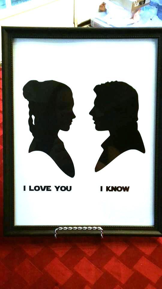 Disney Star Wars Han Solo Princess Leia I Love You I Know silhouette sign Art #Disney