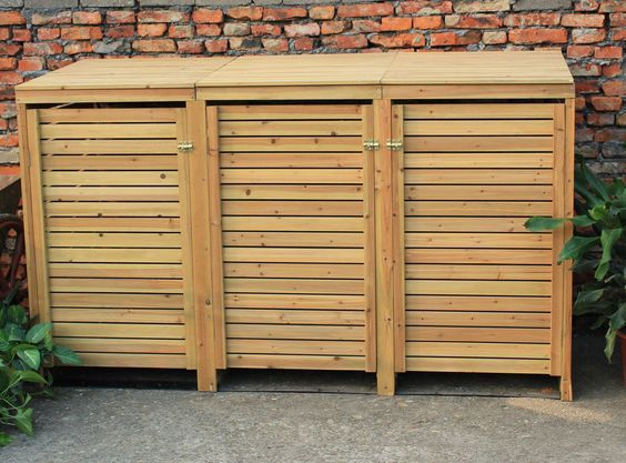 Bentley Garden Wooden Outdoor Wheelie Bin Storage Shed Cupboard Unit Triple