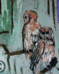 Two Owls ~ by Clifton Pugh