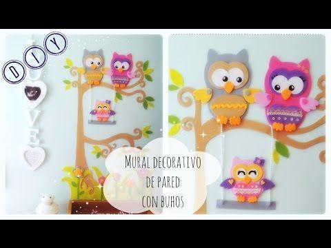 DIY  Mural BUHOS GOMA EVA  .  Owl family Foamy