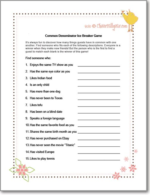 Common Denominator Ice Breaker Game - You can make your own using these prompts as inspiration! Great quick ice breaker for a floor meeting to get people talking!