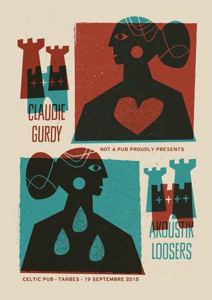 Claudie Gurdy / Akoustik Loosers (Tarbes, France). Poster design: Jean Mosambi (2015).