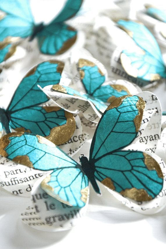 Blauwe vlinders papieren vlinders muur decor baby douche decor boho decor 3d bu