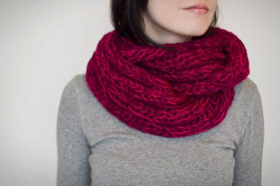 Knit cowl chunky pink wool blend by calinteya on Etsy, $140.00