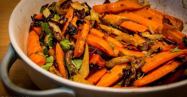 Cuisine-à-Vous: Worteltjes uit de oven met rode ui, venkel en munt