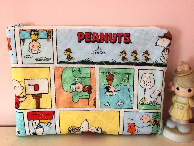Travel pouch ,Quilted Handmade  Cosmetic bag,zipper pouch,Makeup bag, Cosmetic purse,charlie brown and Peanuts . by JulieKimWorkshop on Etsy https://www.etsy.com/listing/575552500/travel-pouch-quilted-handmade-cosmetic