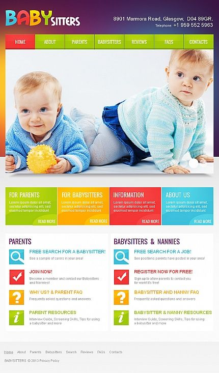 Template 42958 - Baby Babysitter Facebook HTML CMS Template
