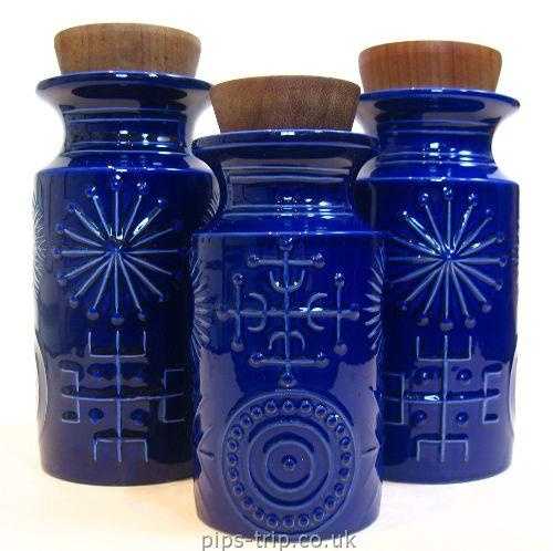 Exquisite! 1963 Portmeirion Pottery 'Totem' Storage Jars by Susan Williams-Ellis
