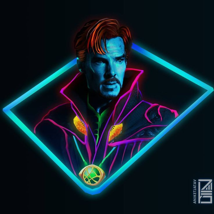"8,474 Likes, 125 Comments - Aniket Jatav (@aniketjatav) on Instagram: ""42/365 : NEON AVENGERS Artwork : 7 - Doctor Strange ✨ Don't forget to order your Neon Captain…"""