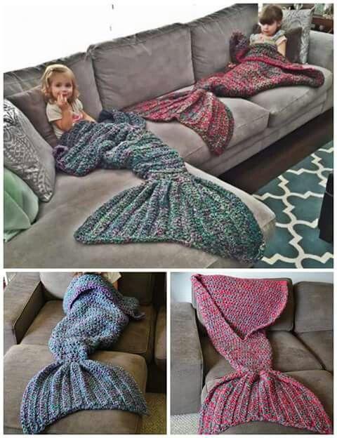 Calda da sereia feita de tricô Ótima para o inverno e pra criançada se divertir