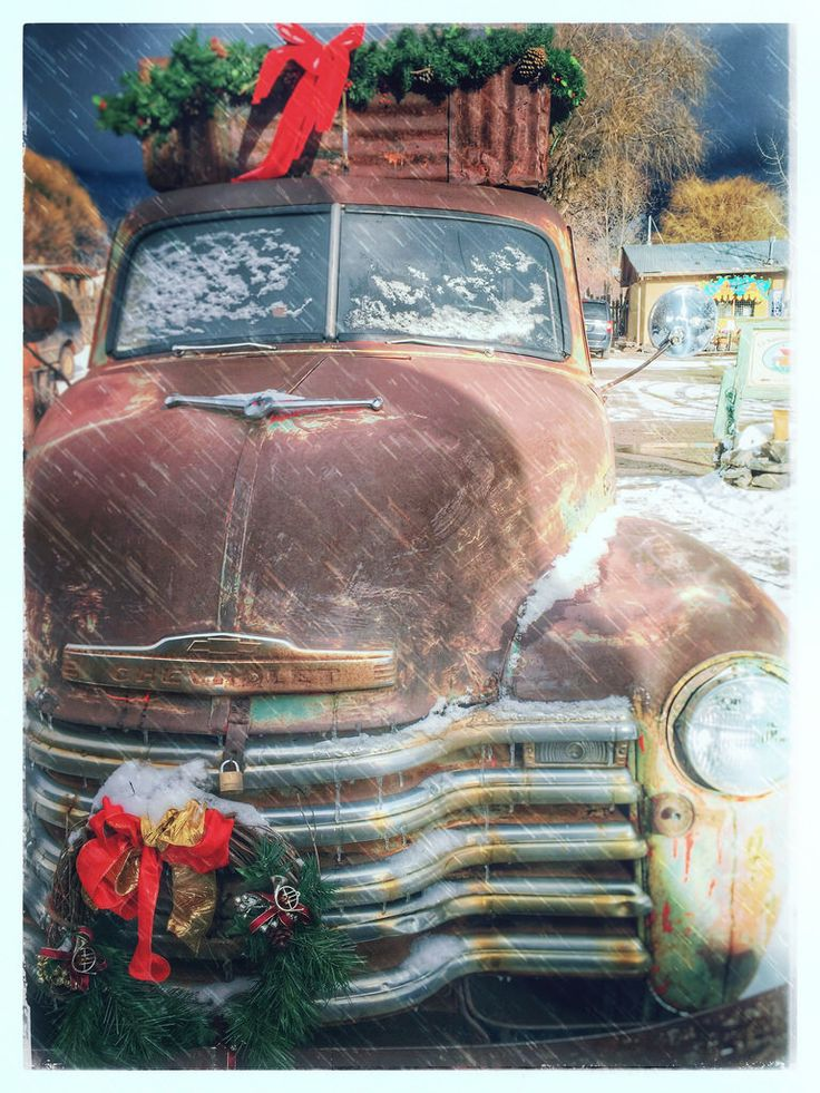 Rusty Pickup Truck Arroyo Seco New Mexico Snow Christmas fgr112