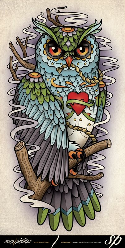 Love the style of this owl, but want him to be a barn owl. Sams Blog: Sugar Skull Owl Half Sleeve Tattoo