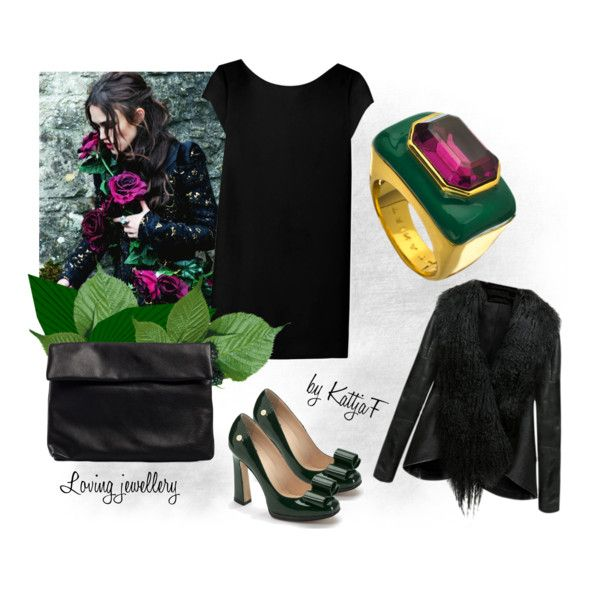 """""""Green and violet in gold ring"""" by kattjaf on Polyvore"""