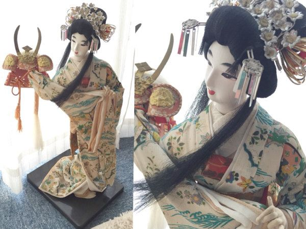 BLACK FRIDAY SALE, 40% off!! Traditional Japanese Kimono Doll holding Kabuto by FlatRiver on Etsy