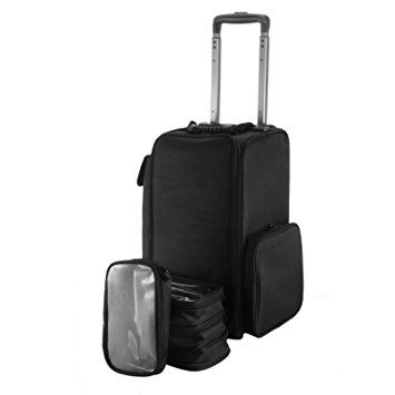 OrangeA Black Nylon Makeup Case On Wheels with Large Storage for traveling professionals Review