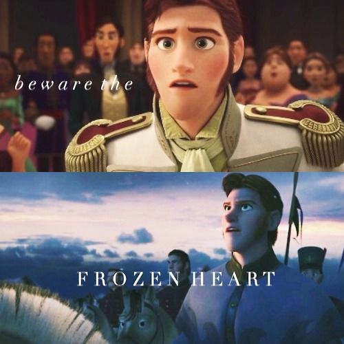 "The big guys in the beginning singing ""Frozen Heart"" was warning us about Hans!!!! WHOA... naaaah    No. The guys in the beginning we're warning about the frozen heart as in when Elsa froze Anna's heart and the trolls couldn't do anything about it. Omg. Stop."