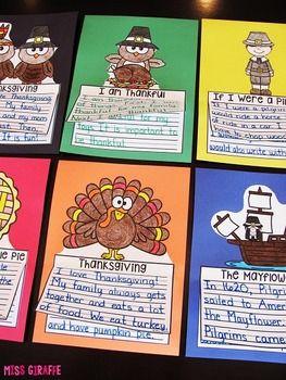 Thanksgiving Writing Craft Activities Bundle: 7 fun Thanksgiving Writing Crafts that are NO PREP!