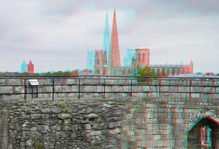 https://flic.kr/p/Hwwsoe | Clifford's Tower York 3D | anaglyph stereo red/cyan