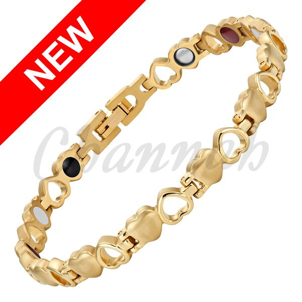 Channah 2017 Ladies Heart Bangle 4in1 Magnet -ve Ions Germanium Far Infra Red Gold Stainless Steel Bracelet Free Shipping Charm