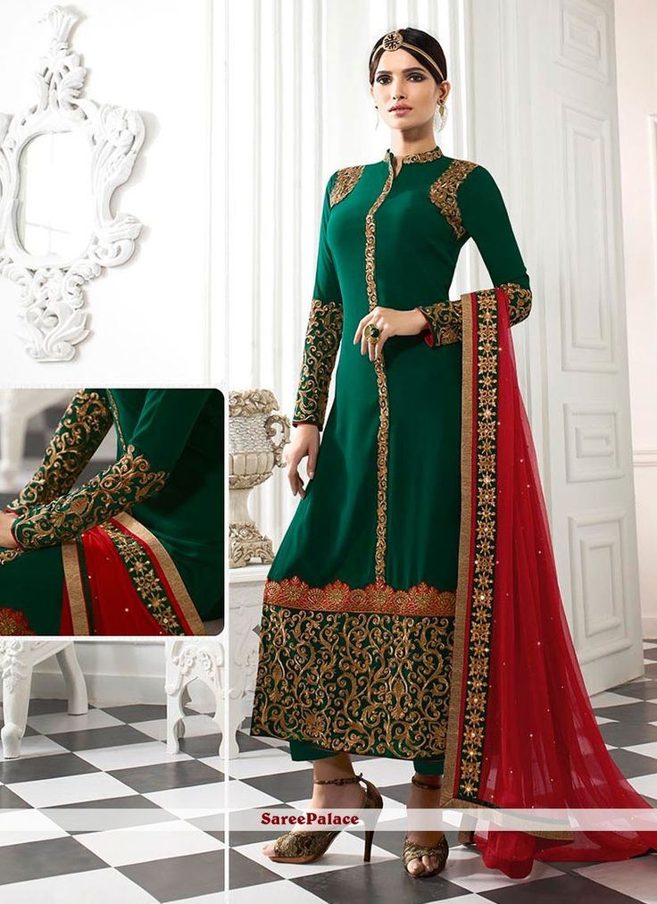 Genius Patch Border Work Georgette Green Designer Straight Salwar Kameez