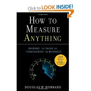 Douglas W. Hubbard, How to Measure Anything: Finding the Value of Intangibles in Business. Anything can be measured. This bold assertion is the key to solving many problems in business and life in general. The myth that certain things can't be measured is a significant drain on our nation's economy, public welfare, the environment, and even national security. In fact, the chances are good that some part of your life or your professional responsibilities is greatly ...