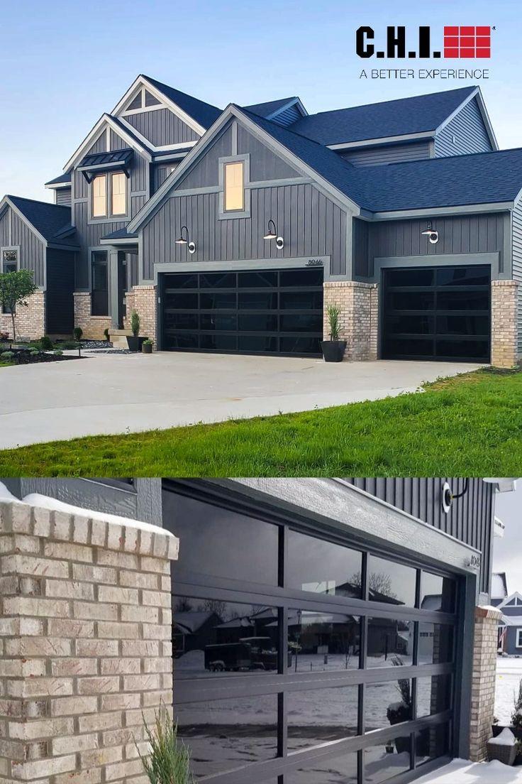 Full View Aluminum Glass Garage Doors On Custom Modern Farmhouse Exterior Garage Door Styles Garage Exterior Modern Garage Doors