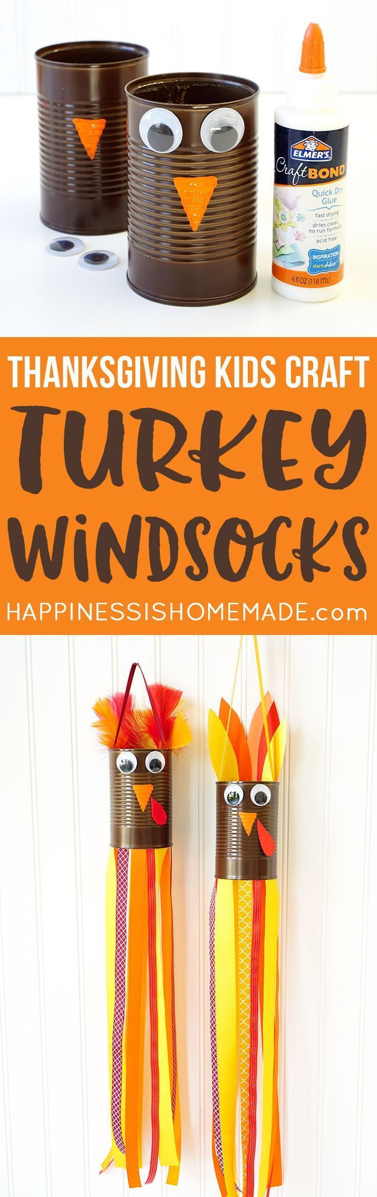Thanksgiving Kids Craft: Turkey Windsocks - Need a quick and easy Thanksgiving kids craft? These adorable turkey windsocks made from a recycled tin can, ribbon, Elmer's glue, and crafty odds and ends are the cutest Thanksgiving turkeys around! #sponsored Note: I would use construction paper instead of tin can.