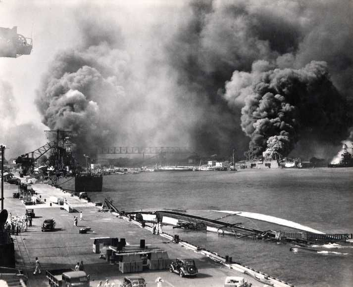 December 7, 1941    Just before 8am hundreds of Japanese planes attacked the United States Naval Base at Pearl Harbor, Hawaii Territory, killing more than 2,300 Americans and wounding at least 1,000 more.