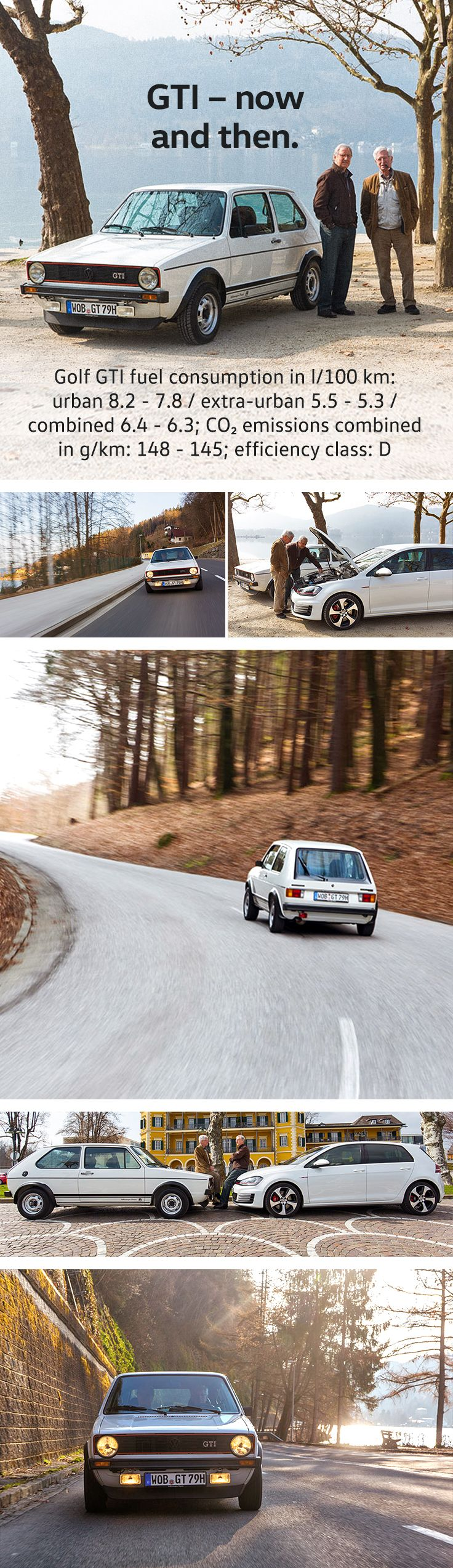 When a legend meets its successor. Anton Konrad and Herbert Schuster both contributed to creating the original Golf GTI four decades ago. They both met up for a drive around the Wörthersee in the classic Golf I GTI and the seventh edition of this legendary Volkswagen model.