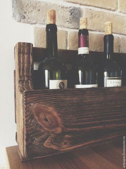 Купить Полка для вина из паллет - коричневый, полка, полка для вина, полка из дерева, полка из паллет