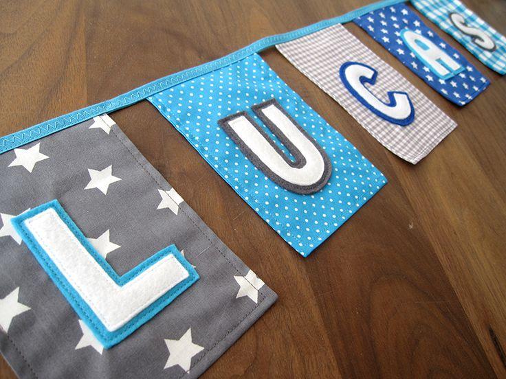 jongens vlaggenlijn van stof blauw