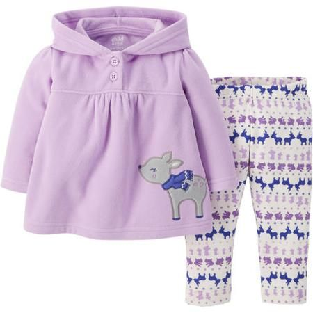 Child Of Mine by Carter's Newborn Baby Girl Top and Leggings Outfit Set - Walmart.com