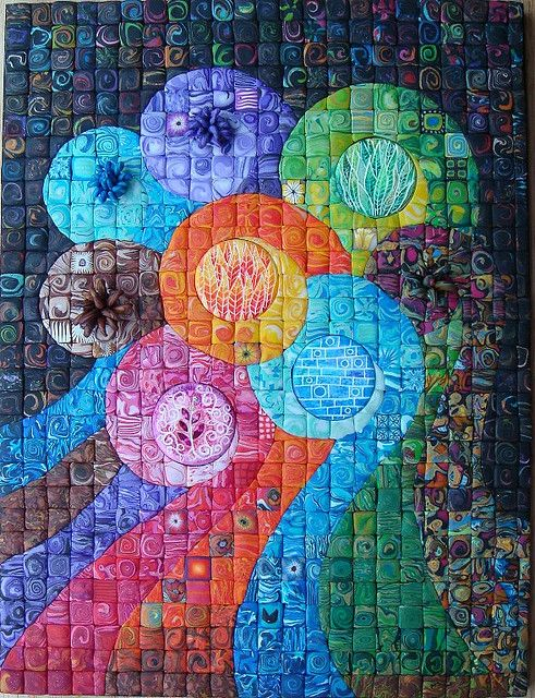 """""""Group Hugs""""  Beautiful Flickr photo from 'polymerclaybeads'.  Also, do a search for 'polymer clay mosaics' to see other beautiful mosaic art."""