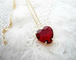 Colar Coração cristal facetado