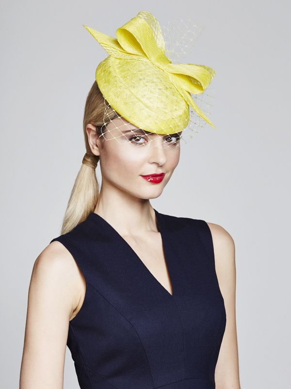 Lemon sinamay pillbox with front to back bow with criss cross detailing and veil | Juliette Botterill Millinery | Spring-Summer 2015