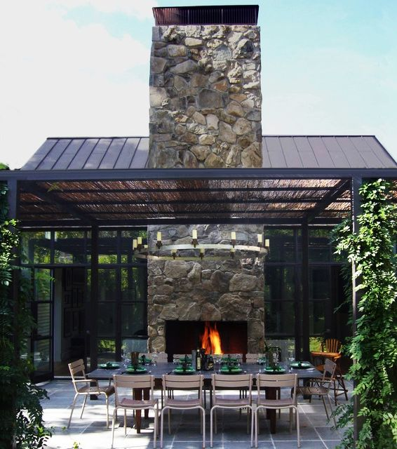 Exterior - Contemporary Patio Area With Stone Outdoor Fireplace Long Table The Brown Chairs And The Iron Pergola: Artistic Pergola Design Id...