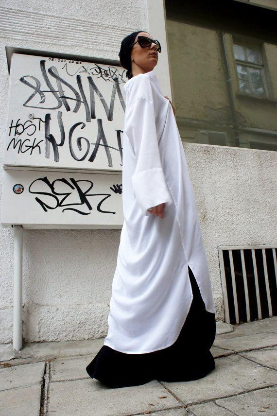 White Long Oversize Loose Shirt/ Asymmetric Maxi by Aakasha