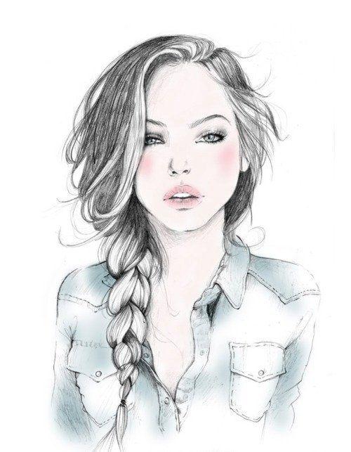 Wear braid: Sketch, Girls, Drawings, Inspiration, Illustrations, Art, Fashion Illustration, Hair