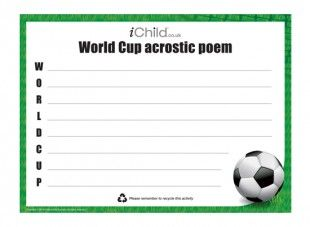 Your child can write a fun poem about football using the first letter of each line to start the sentence.