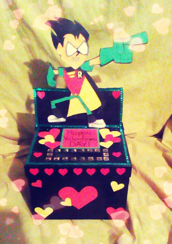 This is the AWESOME Teen Titans Go! Robin Valentine's box I made for my son's school party this year! It took 5 hours and this pic does not do it justice but it was so fun to make!