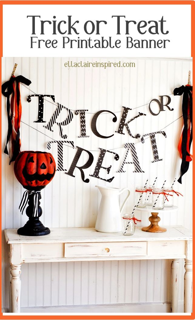 Easy and Free printable Trick or Treat Banner! So perfect for your Halloween Home or Party Decor!