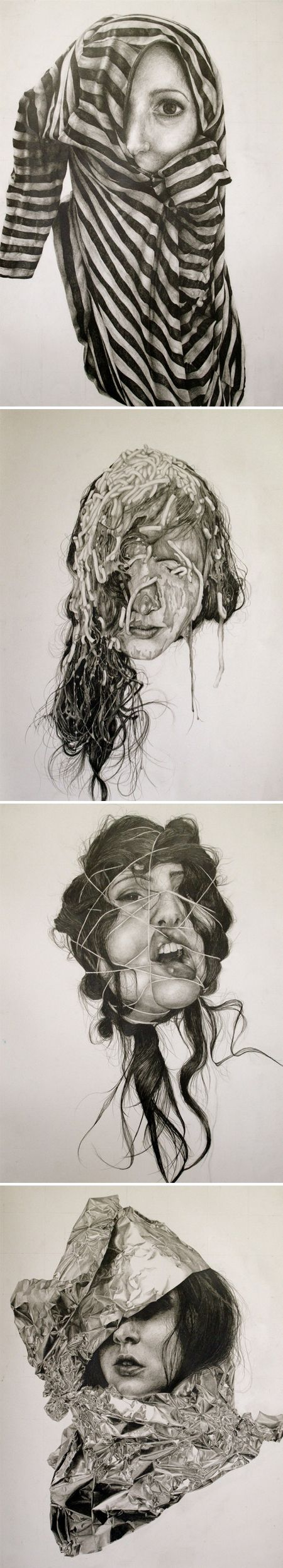 "Gillian Lambert Drawings from a series called ""Self Deception"" Graphite on 22"" x 30"" white paper"